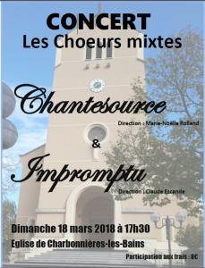 Concert du dimanche 18 mars 2018 à Charbonnières les bains